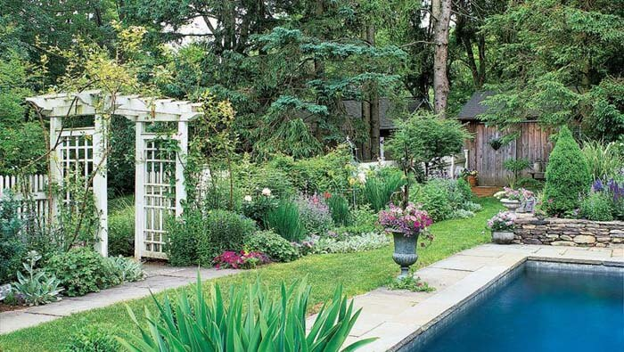 Garden Landscaping With Arbor and Pool #garden #landscaping #decorhomeideas