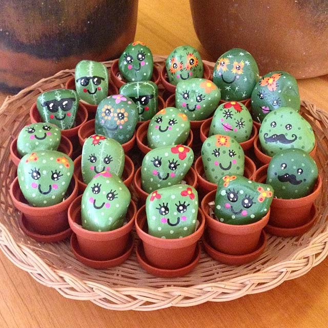 Happy Painted Rocks Cacti
