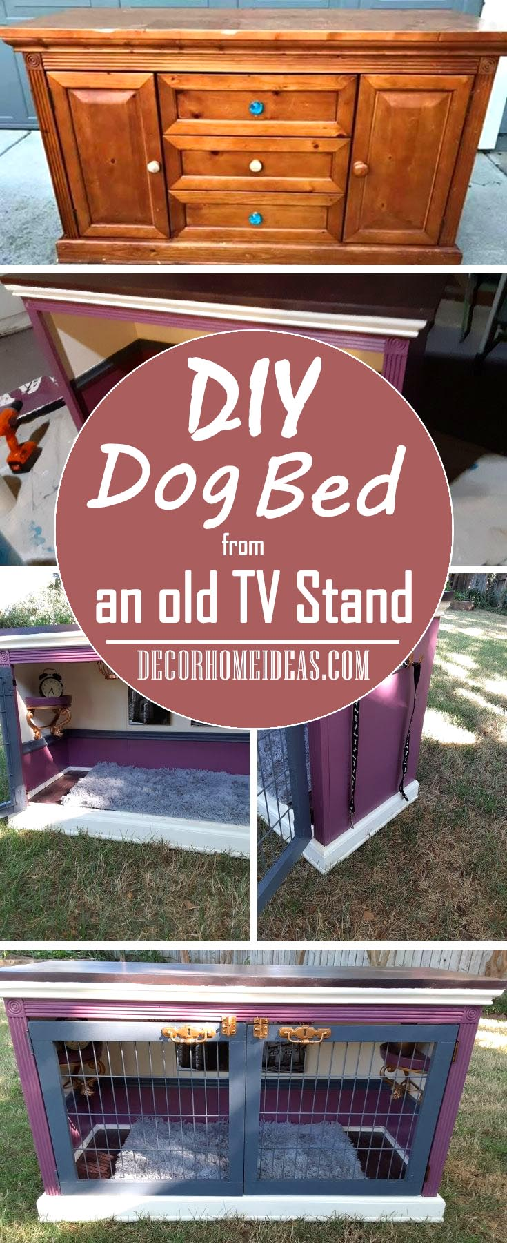 How to DIY dog bed from an old TV stand. Step by step instructions and materials needed for the best dog house with bed.