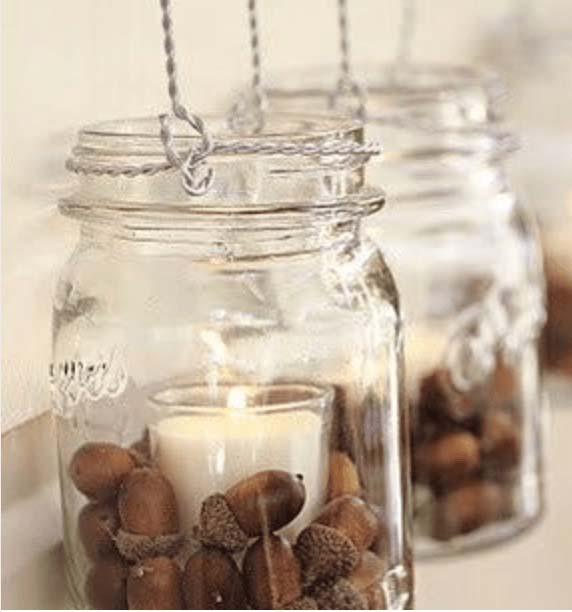 Mason Jar Candle With Acorn #falldecor #masonjar #decorhomeideas