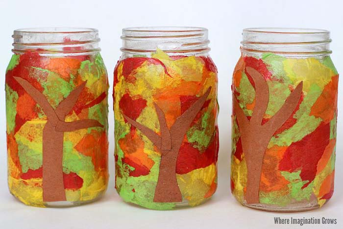 Mason Jar Fall Luminaries Craft #falldecor #masonjar #decorhomeideas