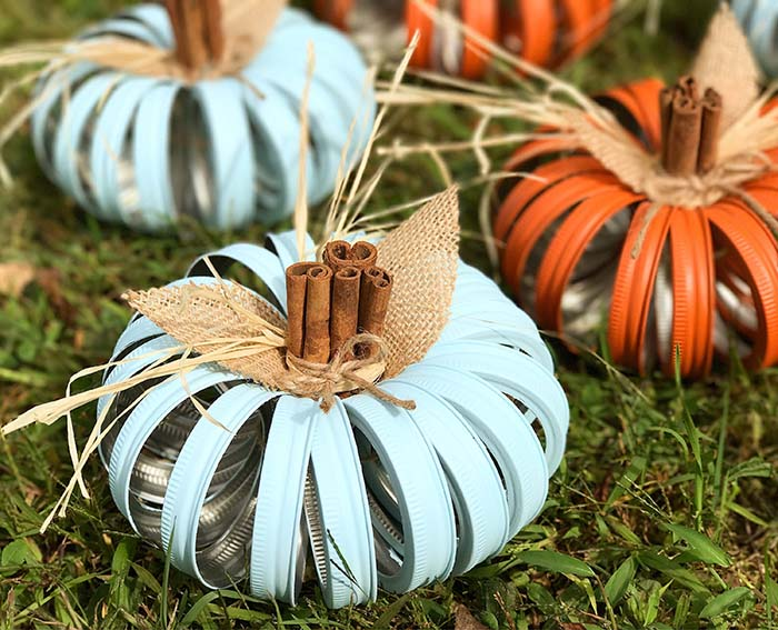 Mason Jar Lid Pumpkin Fall Crafts #falldecor #masonjar #decorhomeideas