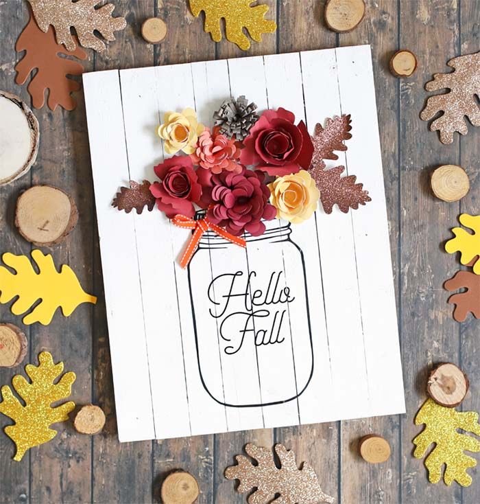 Mason Jar Sign Fall Crafts #falldecor #masonjar #decorhomeideas