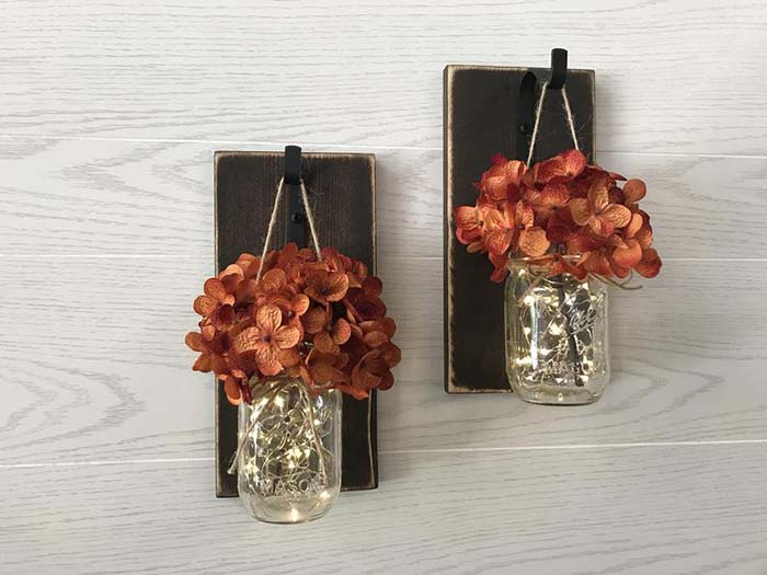 Mason Jar Wall Sconces Fall Decor #falldecor #masonjar #decorhomeideas