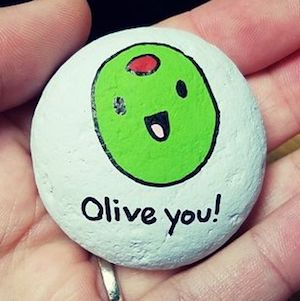 Olive You Painted Rock