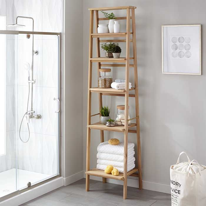 Oversized ladder style teak bathroom shelf
