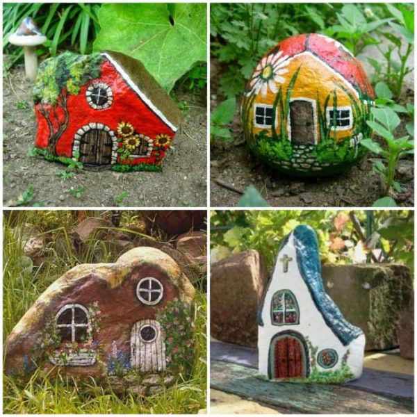 Painted Stones Fairy Houses