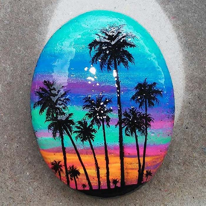 Palms Painted Rock