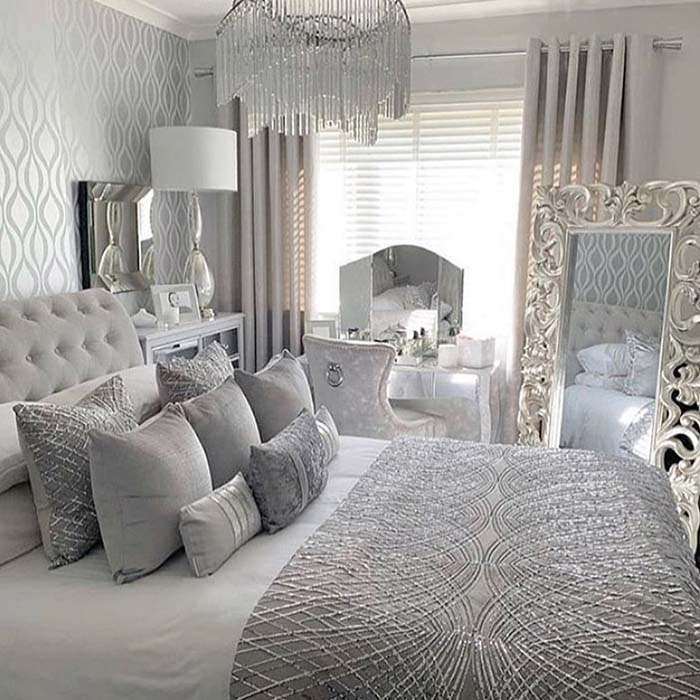 Pure Silver Bedroom Design #bedroom #silver #decorhomeideas