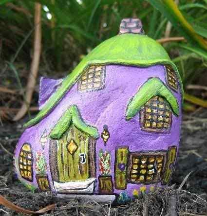 Purple Fairy House Painted Rock