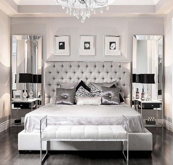 Silver Bedroom With Black Accent #bedroom #silver #decorhomeideas