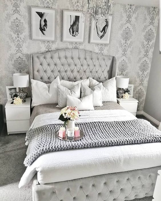 Silver Grey Bedroom Design #bedroom #silver #decorhomeideas