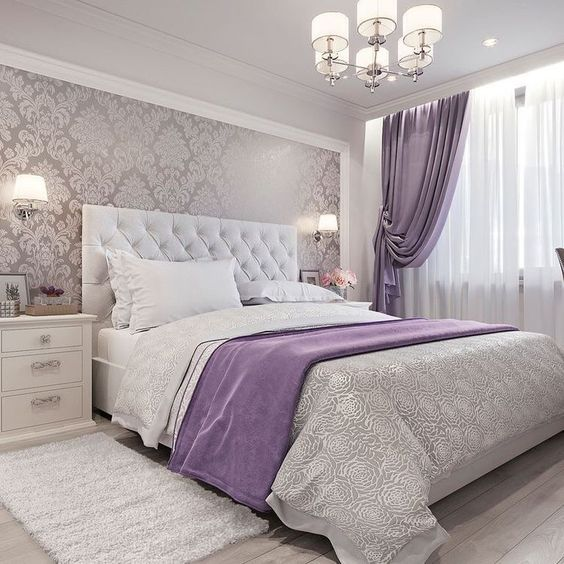 Silver and Purple Bedroom #bedroom #silver #decorhomeideas