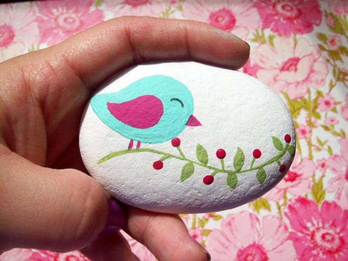 Small Bird Painted Rock