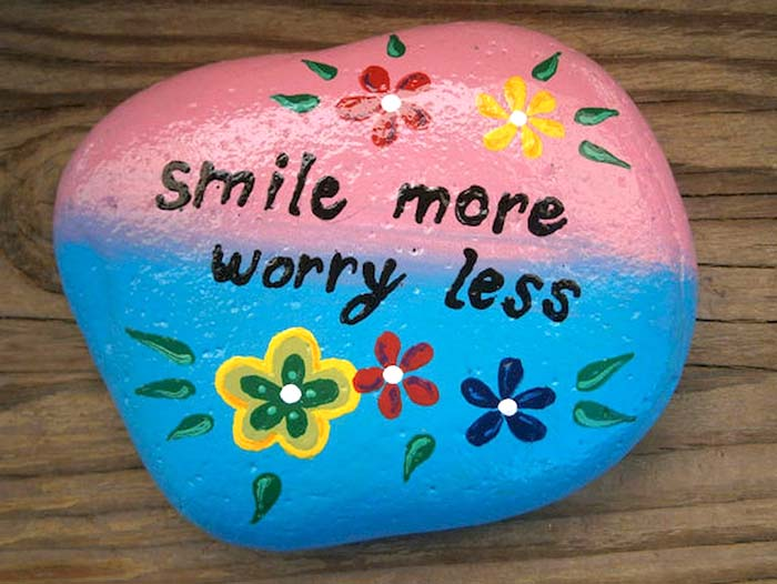 Smile More Worry Less Painted Rock Quote
