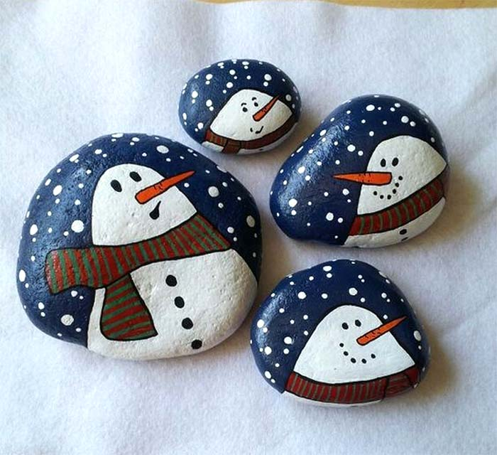 Snow Man Christmas Painted Rock