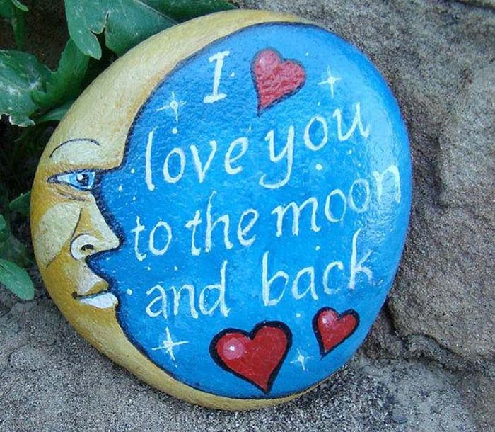 To The Moon and Back Painted Rock