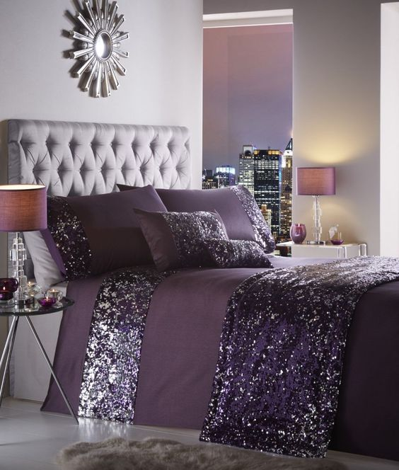 Violet Silver Purple Bedroom #bedroom #silver #decorhomeideas
