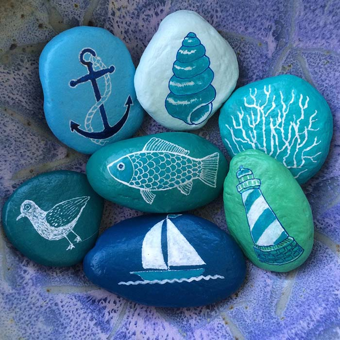 Beach Themed Painted Rocks