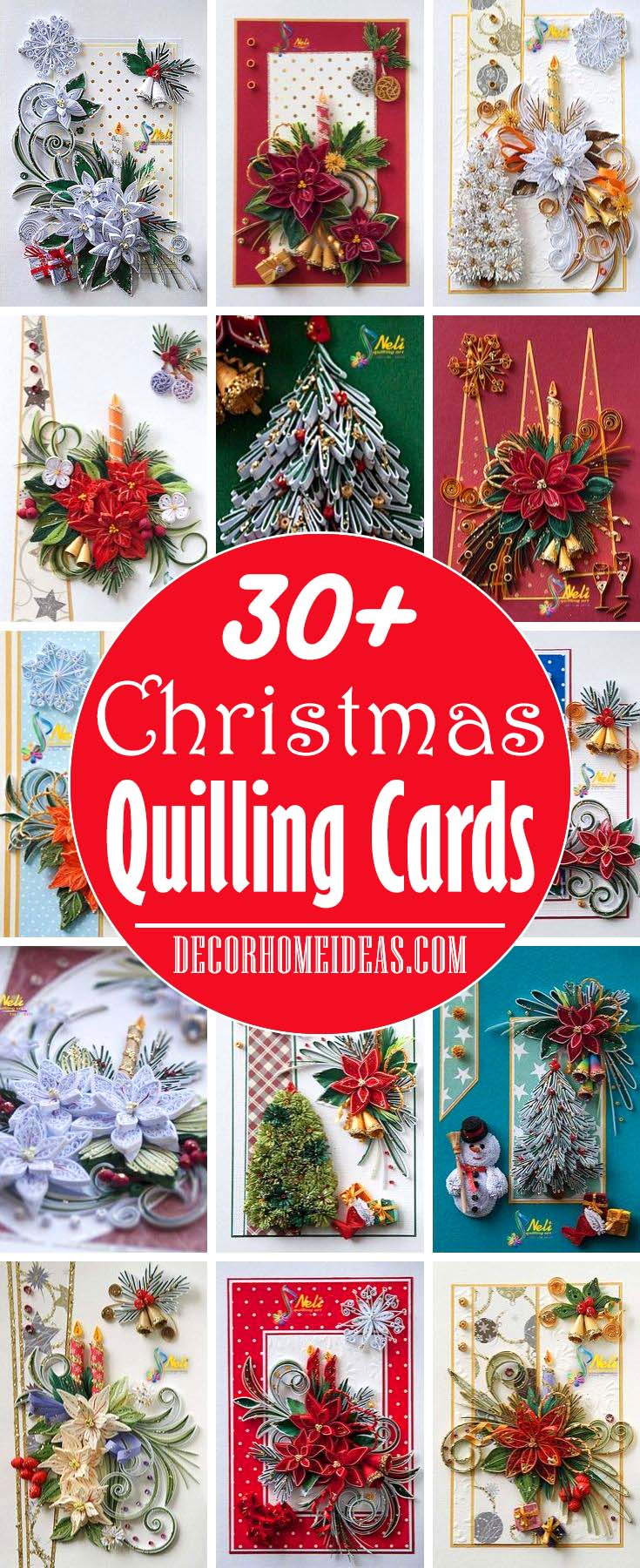 Christmas Quilling Cards Ideas and Designs. #quilling #Christmas #cards #decorhomeideas
