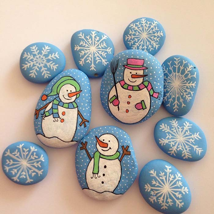 Christmas Snowman Painted Rocks