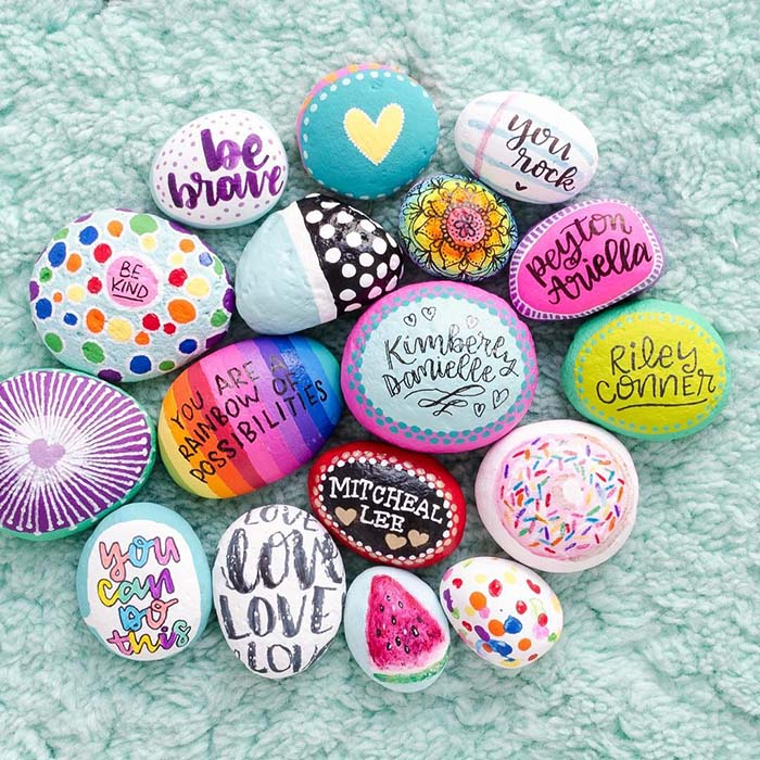 Colorful Painted Rock Quotes