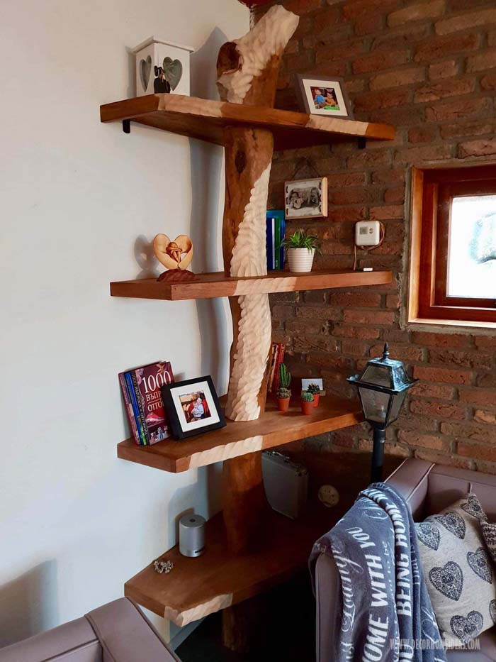DIY Corner Tree Bookshelf Design #diy #bookshelf #tree #decorhomeideas