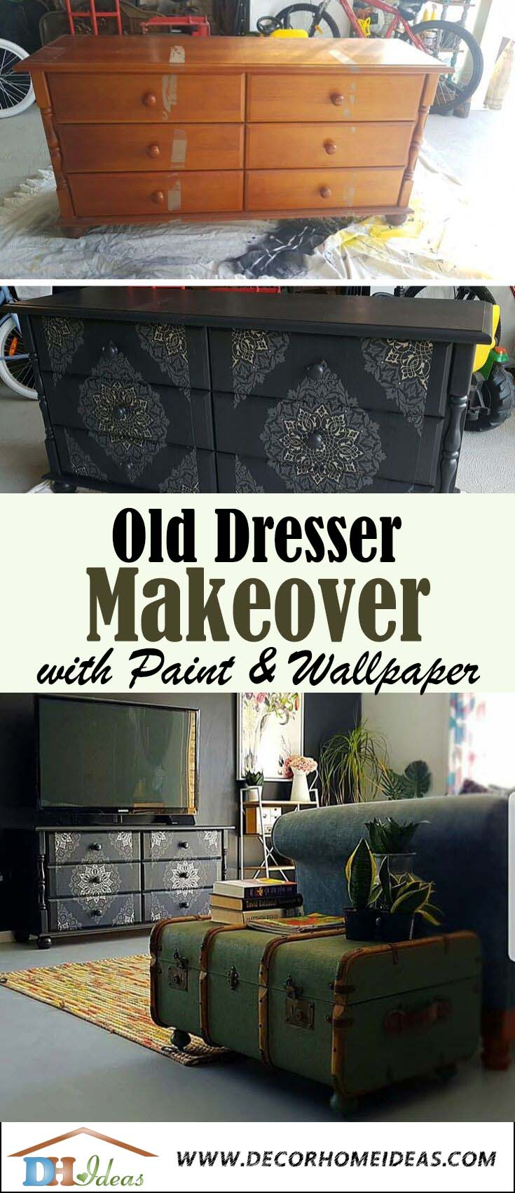 Dresser Makeover With Wallpaper and Water Based Paint. #dresser #makeover #decorhomeideas