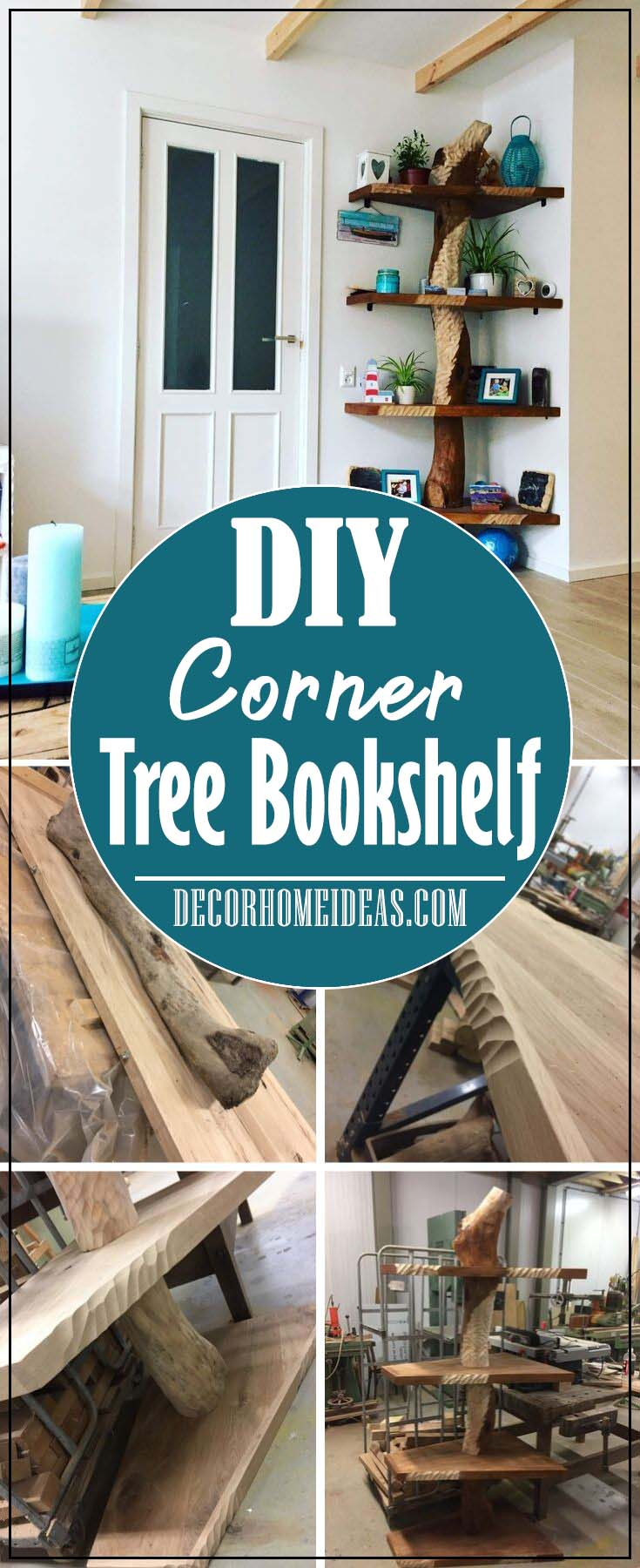 How To DIY Corner Tree Bookshelf #diy #bookshelf #tree #decorhomeideas