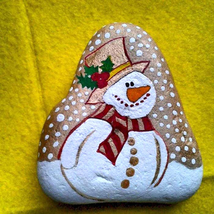 Snowman Christmas Painted Rock
