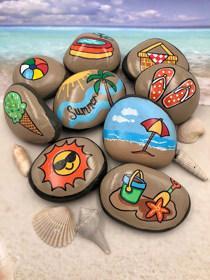 Summer Themed Painted Rocks