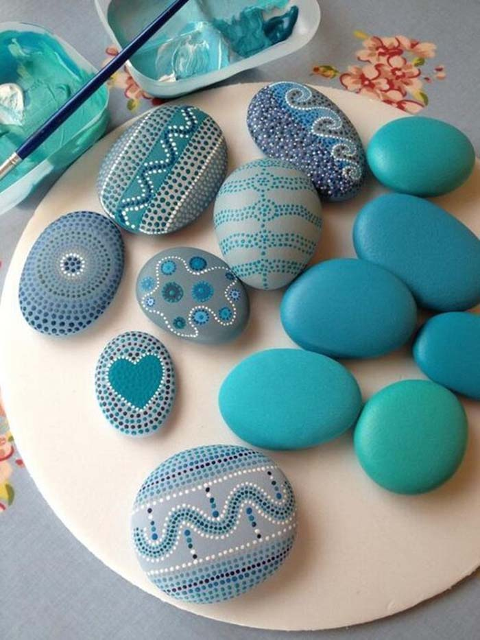 Turquoise Painted Rocks