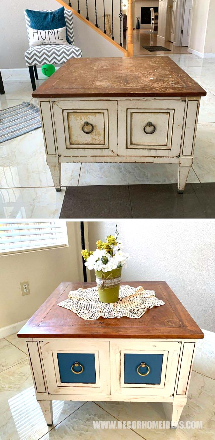 Side Table Makeover #sidetable #table #makeover #repurpose #reuse #decorhomeideas