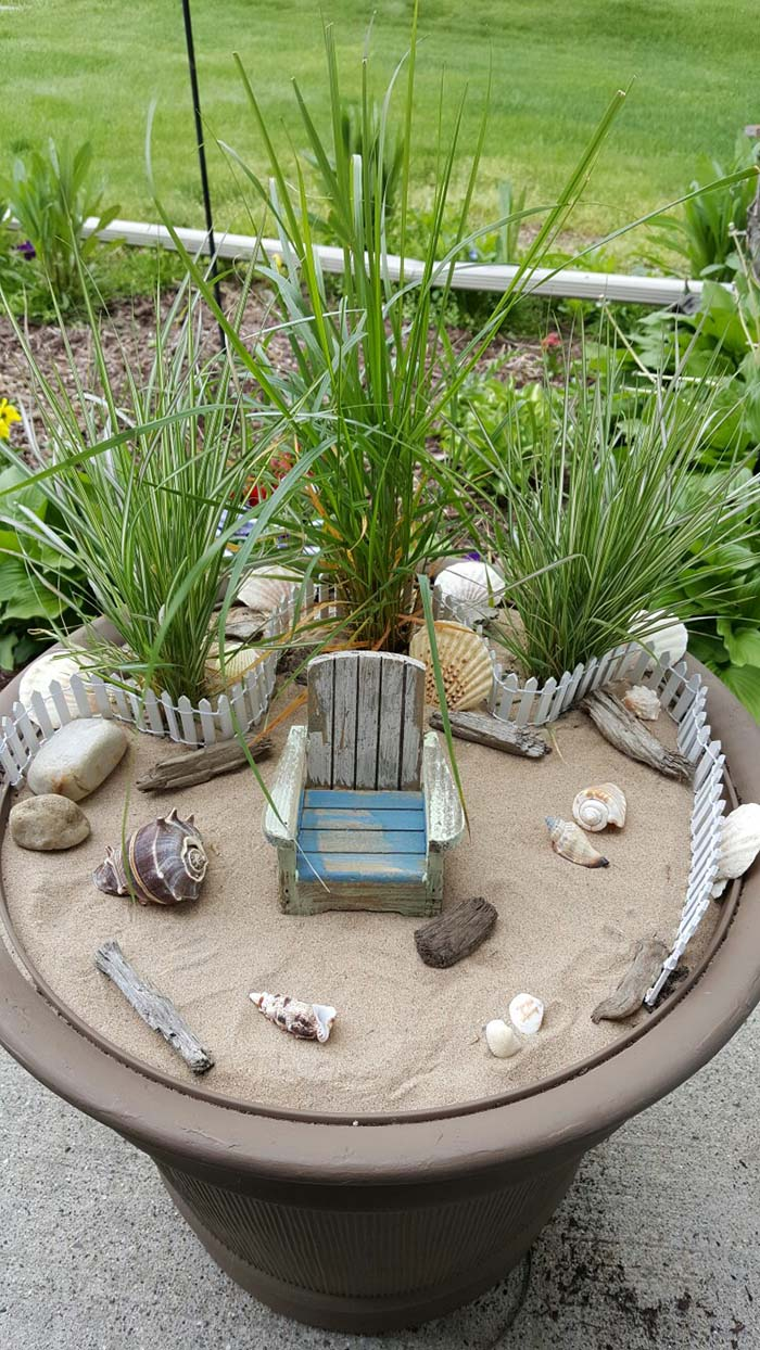 Beach Theme Fairy Garden #fairygarden #diy #decorhomeideas