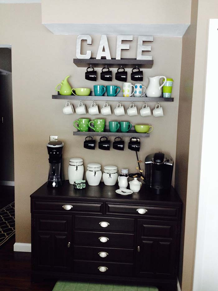 Black Cabinet Coffee Station #coffeebar #coffeestation #decorhomeideas