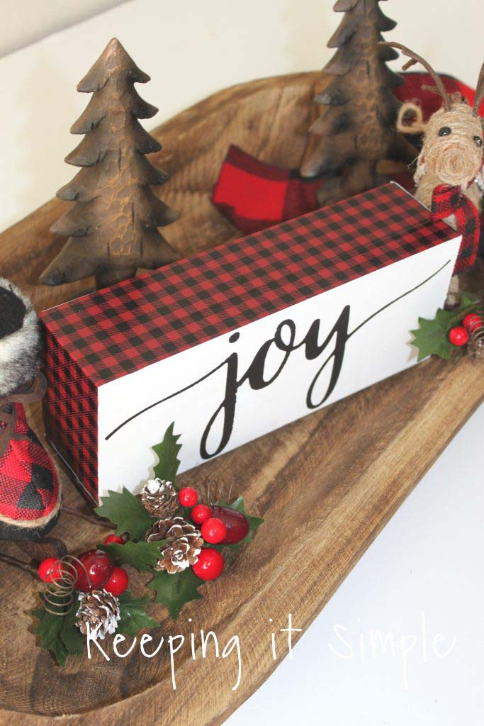 Buffalo Plaid Joy Christmas Block Sign #Christmas #buffalocheck #diy #decorhomeideas