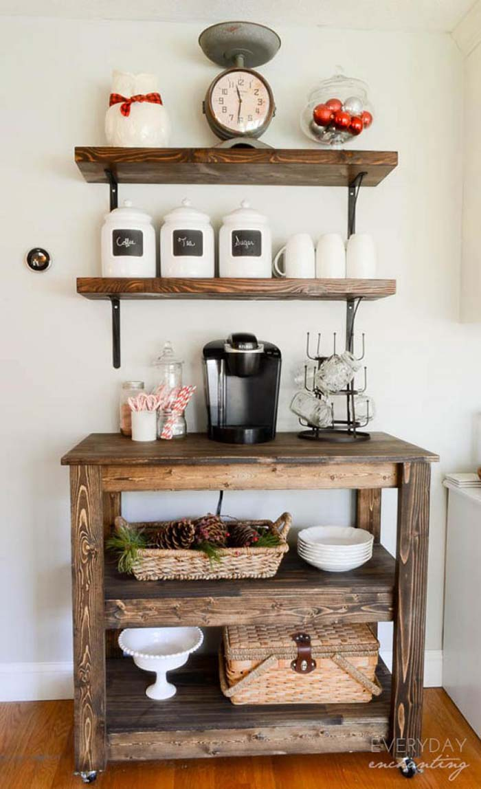 Build Wood Bar Cart #coffeebar #coffeestation #decorhomeideas