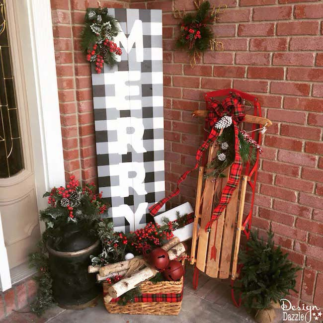 Christmas Buffalo Check Sign #Christmas #buffalocheck #diy #decorhomeideas