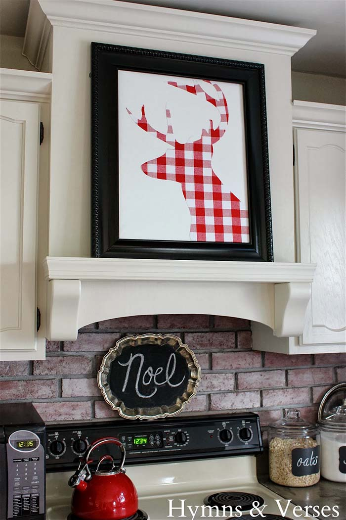 DIY Buffalo Check Reindeer Art #Christmas #buffalocheck #diy #decorhomeideas