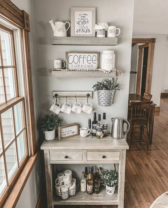 How To Decorate a Coffee Bar #coffeebar #coffeestation #decorhomeideas