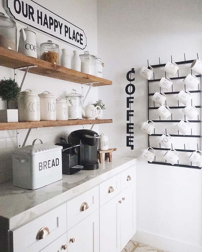 Coffee Bar With Cup Wall Rack #coffeebar #coffeestation #decorhomeideas