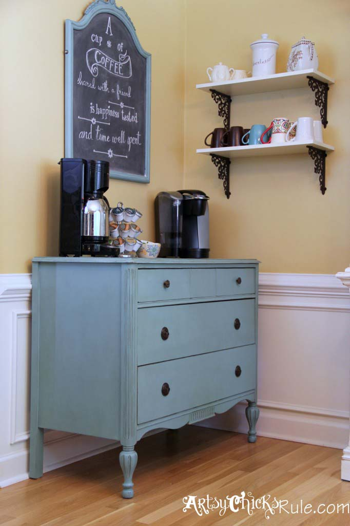 Coffee Bar with Shelves #coffeebar #coffeestation #decorhomeideas