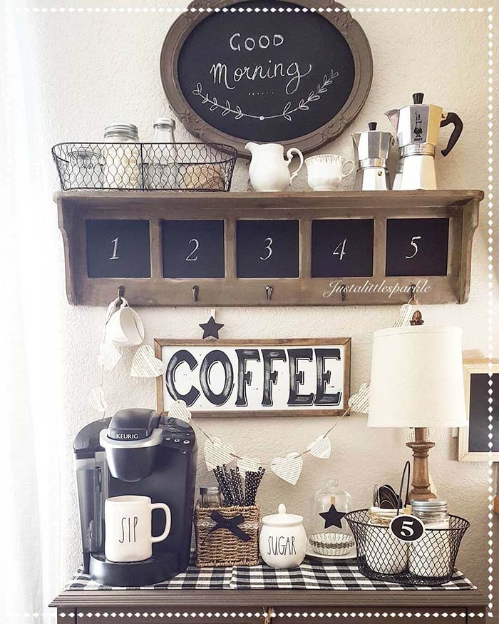Coffee Station Chalkboard #coffeebar #coffeestation #decorhomeideas