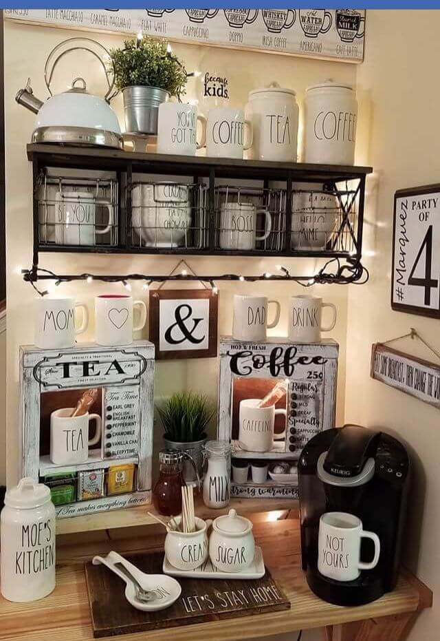 Coffee and Tea Station #coffeebar #coffeestation #decorhomeideas