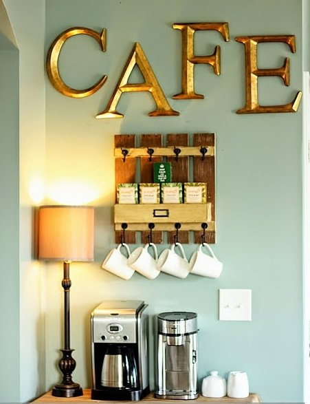 Copper Letters Coffee Bar #coffeebar #coffeestation #decorhomeideas
