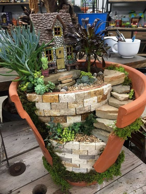 Cottage Fairy Garden #fairygarden #diy #decorhomeideas