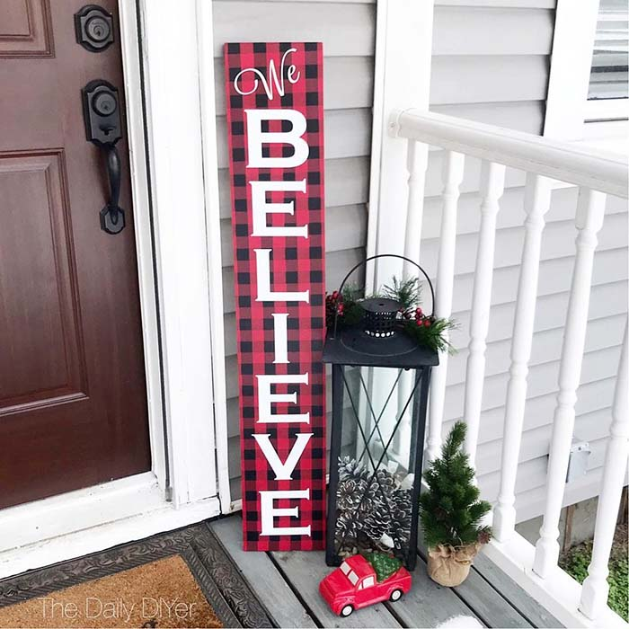DIY Buffalo Check Christmas Wood Sign #Christmas #buffalocheck #diy #decorhomeideas