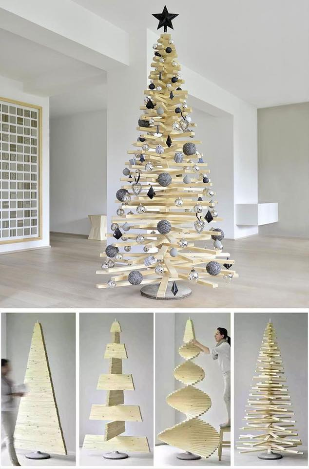 Wooden slats Christmas Tree #Christmas #trees #decorhomeideas