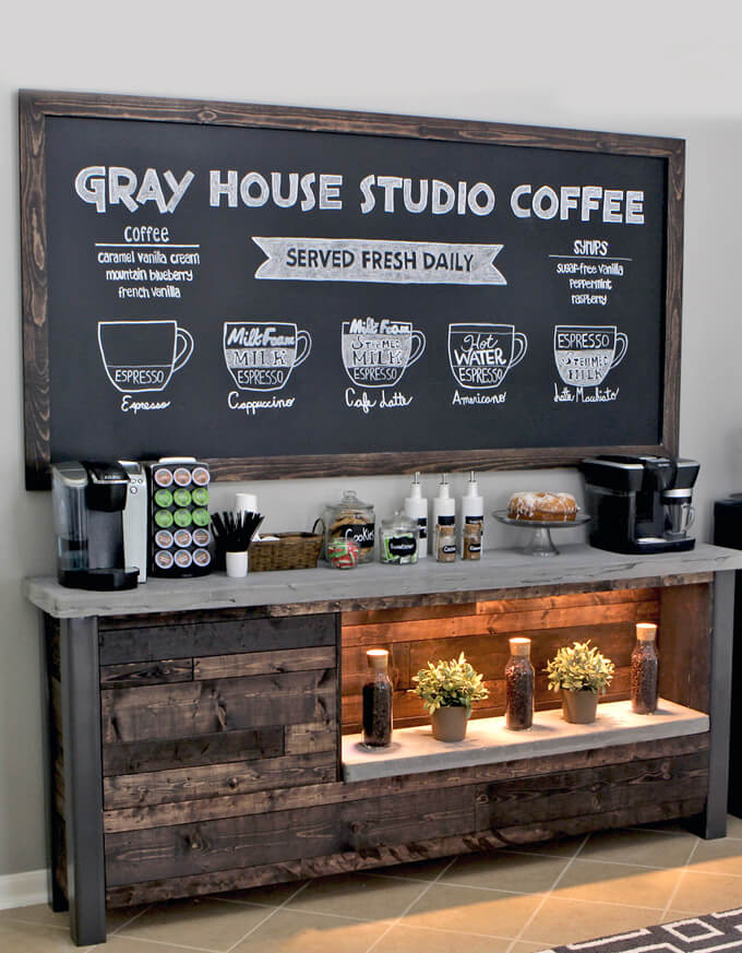 DIY Coffee Bar Chalkboard #coffeebar #coffeestation #decorhomeideas