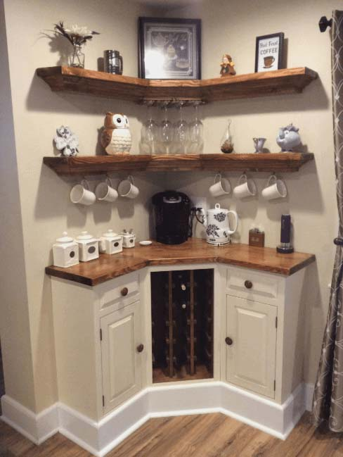 DIY Corner Coffee Station #coffeebar #coffeestation #decorhomeideas